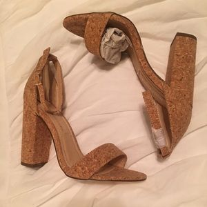 Shoes - Cork Heel with Ankle Strap