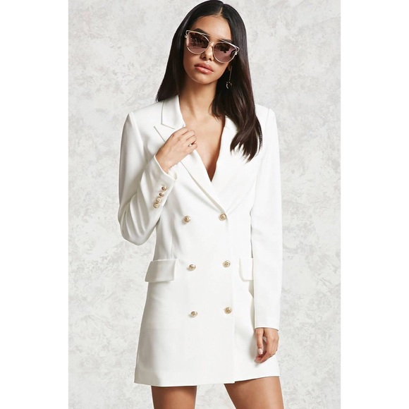 b48d93c500c6e Forever 21 Jackets & Coats | White Double Breasted Blazer Dress ...
