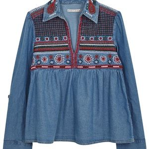 Alice + Olivia Karly Denim Embroidered Top SZ S