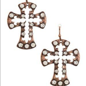 Jewelry - Cross Studded Dangle Earring