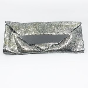 kenneth cole • oversized patent metal plate clutch