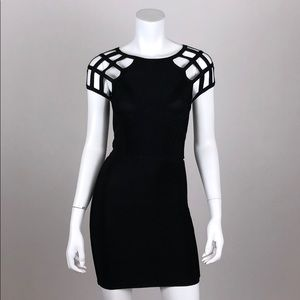 Bebe Bandage Dress Size Small Black Fitted Mini