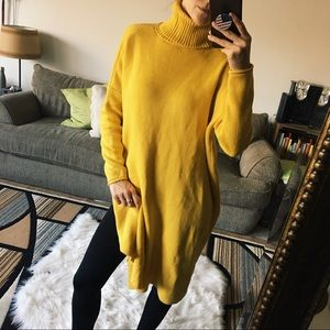 Sweaters - Mustard Yellow Turtleneck Sweater Open-Back Dress!