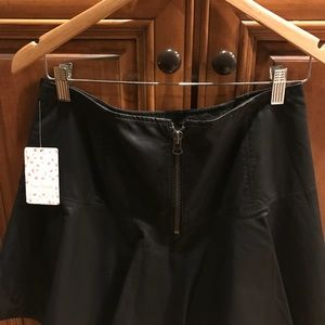 FREE PEOPLE Black Faux Vegan pleated mini skirt