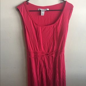Bright Pink Knotted Top Fit and Flare Dress