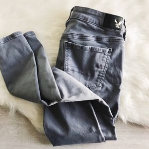 american eagle gray super low chino jeggings