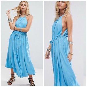 Free People • Blue Pom Pom Midi Flowy Dress
