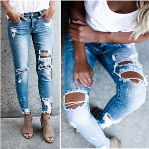 Denim - Light Wash Ripped Distressed Stretch Skinny Jeans