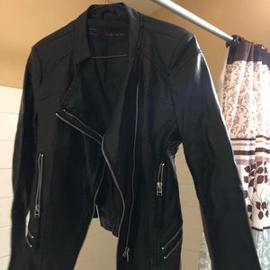 Leather Jacket With Silver Zippers