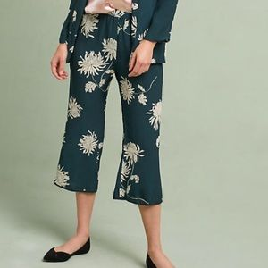 Anthropologie Chrysanthemum Pants Flowy green new