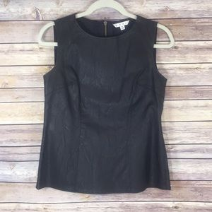 CAbi Faux Leather Black Sleeveless Top