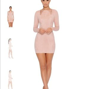 Ohpolly blush faux suede dress