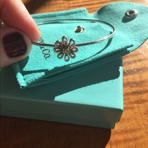 Sterling Silver and 18k gold Tiffany Daisy Bangle