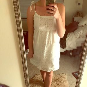 J Crew Dress with tie tops and eyelet detail