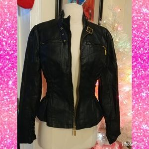 Black motorcycle pleather jacket