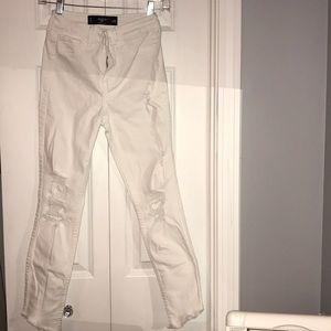 Hollister white ripped jeans