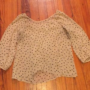 Romantic Polka Dot Cream Top with bow back!