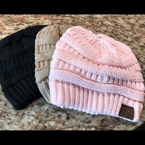 Accessories - Beanies ponytail hats. black pink taupe light tan