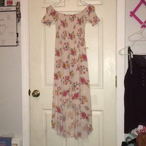 High low off shoulder maxi dress