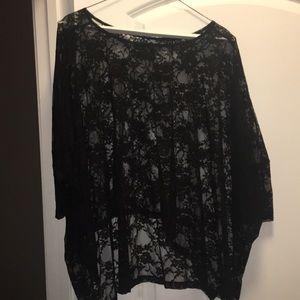 Black floral lace loose top