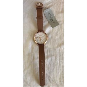 Fossil Rose Gold Multifunction Leather Strap Watch
