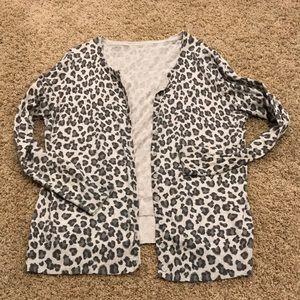 Gray leopard cardigan
