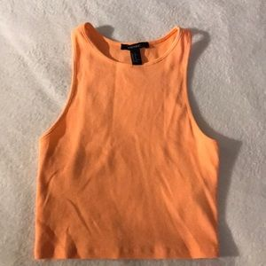 Neon Orange Cropped Tank Top Forever 21