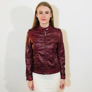 MAVI ANTHROPOLOGIE FAUX VEGAN RED LEATHER JACKET S