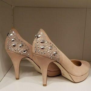 Beige heels with rhinestones!