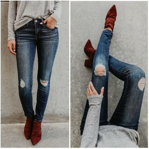 Denim - Dark Wash Ripped Knee Skinny Stretch Jeans