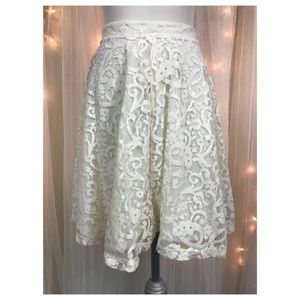H&M White Lace A-line Mini Skirt