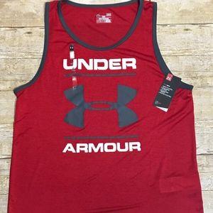 Under Armour Men's Tech Red Sleeveless Shirt Large