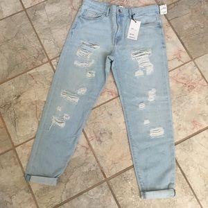 Boyfriend Fit Shredded Ripped Blue Jeans