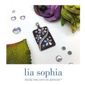 Lia Sophia Wood and Mother of Pearl Floral Slide