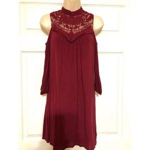 Adorable Maroon/ Burgandy Cold Shoulder Dress XS