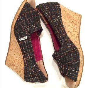 😻Toms Wool Cork Wedges😻
