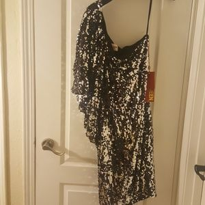 New Sequin Silver/Black Party Dress