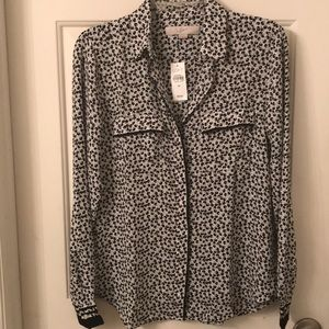 NWT Floral Tipped Utility Blouse