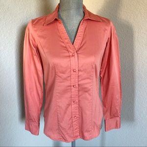 Talbots Coral Button Down Shirt Size 4