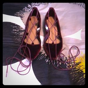 Mossimo Supply Co. velvet lace up flats size 6.5