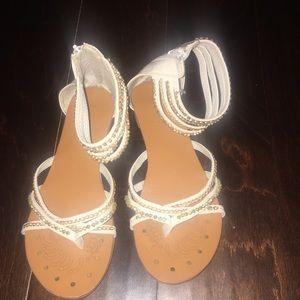 Gold and white ankle sandals