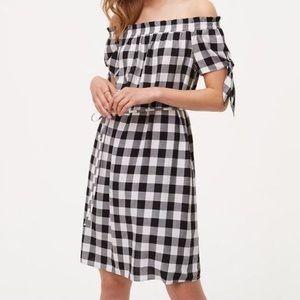 Ann Taylor Loft Gingham Off Shoulder Dress