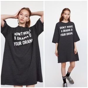 Zara dress with drama slogan