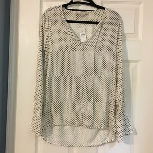Brand New Loft blouse white with black dots sz XS