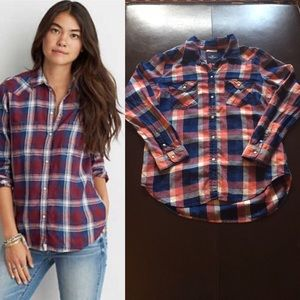 American Eagle Boyfriend Fit Red and Blue Flannel