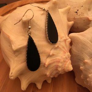 Vintage Sterling Silver Black Onyx Dangle Earrings