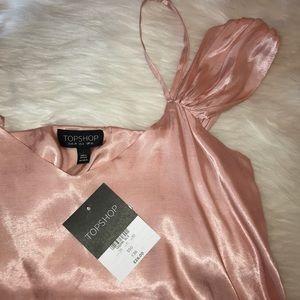 TopShop pink silk spaghetti strap cold shoulder
