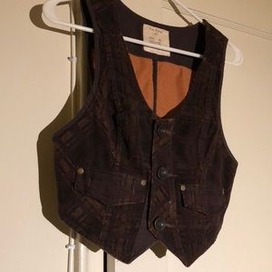 Free People Antique Style Brown Plaid Vest