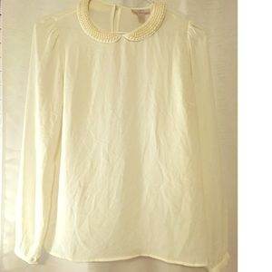 LOFT White Pear Collared Blouse
