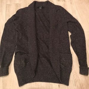 Gray Open-front Sweater